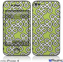 iPhone 4 Decal Style Vinyl Skin - Locknodes 03 Sage Green (DOES NOT fit newer iPhone 4S)
