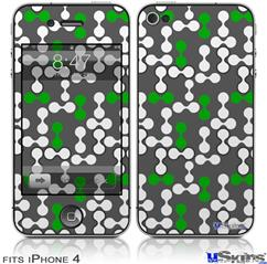 iPhone 4 Decal Style Vinyl Skin - Locknodes 04 Green (DOES NOT fit newer iPhone 4S)