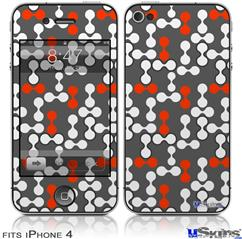 iPhone 4 Decal Style Vinyl Skin - Locknodes 04 Red (DOES NOT fit newer iPhone 4S)