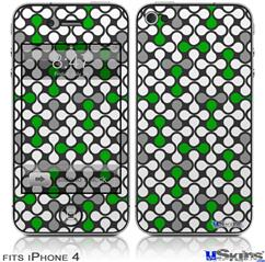 iPhone 4 Decal Style Vinyl Skin - Locknodes 05 Green (DOES NOT fit newer iPhone 4S)