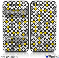 iPhone 4 Decal Style Vinyl Skin - Locknodes 05 Yellow (DOES NOT fit newer iPhone 4S)