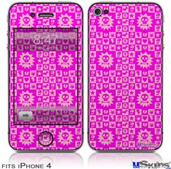 iPhone 4 Decal Style Vinyl Skin - Gothic Punk Pattern Pink (DOES NOT fit newer iPhone 4S)
