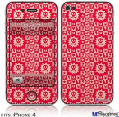 iPhone 4 Decal Style Vinyl Skin - Gothic Punk Pattern Red (DOES NOT fit newer iPhone 4S)