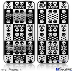iPhone 4 Decal Style Vinyl Skin - Skull And Crossbones Pattern Bw (DOES NOT fit newer iPhone 4S)