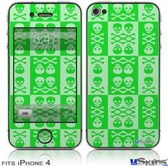 iPhone 4 Decal Style Vinyl Skin - Skull And Crossbones Pattern Green (DOES NOT fit newer iPhone 4S)