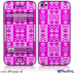 iPhone 4 Decal Style Vinyl Skin - Skull And Crossbones Pattern Pink (DOES NOT fit newer iPhone 4S)