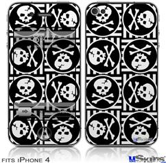 iPhone 4 Decal Style Vinyl Skin - Skull Patch Pattern Bw (DOES NOT fit newer iPhone 4S)