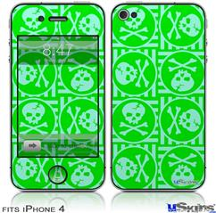 iPhone 4 Decal Style Vinyl Skin - Skull Patch Pattern Green (DOES NOT fit newer iPhone 4S)