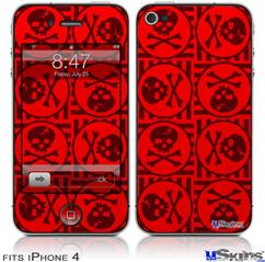 iPhone 4 Decal Style Vinyl Skin - Skull Patch Pattern Red (DOES NOT fit newer iPhone 4S)