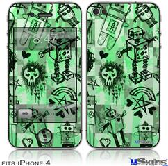 iPhone 4 Decal Style Vinyl Skin - Scene Kid Sketches Green (DOES NOT fit newer iPhone 4S)