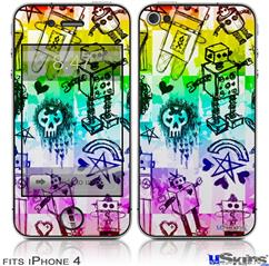 iPhone 4 Decal Style Vinyl Skin - Scene Kid Sketches Rainbow (DOES NOT fit newer iPhone 4S)
