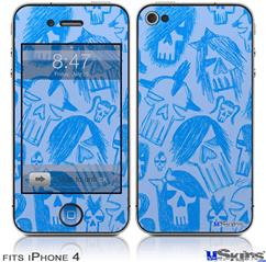 iPhone 4 Decal Style Vinyl Skin - Skull Sketches Blue (DOES NOT fit newer iPhone 4S)