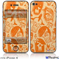 iPhone 4 Decal Style Vinyl Skin - Skull Sketches Orange (DOES NOT fit newer iPhone 4S)
