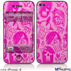 iPhone 4 Decal Style Vinyl Skin - Skull Sketches Pink (DOES NOT fit newer iPhone 4S)