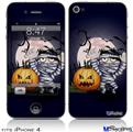 iPhone 4 Decal Style Vinyl Skin - Halloween Jack O Lantern Pumpkin Bats and Zombie Mummy (DOES NOT fit newer iPhone 4S)