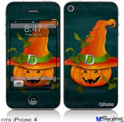 iPhone 4 Decal Style Vinyl Skin - Halloween Mean Jack O Lantern Pumpkin (DOES NOT fit newer iPhone 4S)