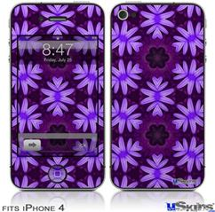 iPhone 4 Decal Style Vinyl Skin - Abstract Floral Purple (DOES NOT fit newer iPhone 4S)