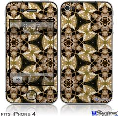 iPhone 4 Decal Style Vinyl Skin - Leave Pattern 1 Brown (DOES NOT fit newer iPhone 4S)
