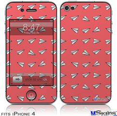 iPhone 4 Decal Style Vinyl Skin - Paper Planes Coral (DOES NOT fit newer iPhone 4S)
