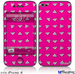 iPhone 4 Decal Style Vinyl Skin - Paper Planes Hot Pink (DOES NOT fit newer iPhone 4S)
