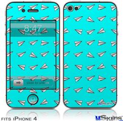 iPhone 4 Decal Style Vinyl Skin - Paper Planes Neon Teal (DOES NOT fit newer iPhone 4S)