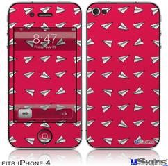 iPhone 4 Decal Style Vinyl Skin - Paper Planes Rasberry (DOES NOT fit newer iPhone 4S)
