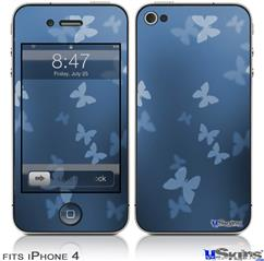 iPhone 4 Decal Style Vinyl Skin - Bokeh Butterflies Blue (DOES NOT fit newer iPhone 4S)