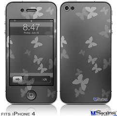 iPhone 4 Decal Style Vinyl Skin - Bokeh Butterflies Grey (DOES NOT fit newer iPhone 4S)