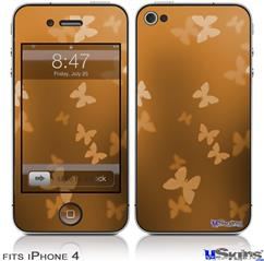 iPhone 4 Decal Style Vinyl Skin - Bokeh Butterflies Orange (DOES NOT fit newer iPhone 4S)