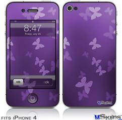 iPhone 4 Decal Style Vinyl Skin - Bokeh Butterflies Purple (DOES NOT fit newer iPhone 4S)