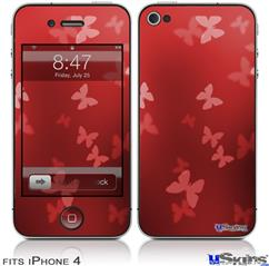 iPhone 4 Decal Style Vinyl Skin - Bokeh Butterflies Red (DOES NOT fit newer iPhone 4S)