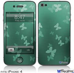 iPhone 4 Decal Style Vinyl Skin - Bokeh Butterflies Seafoam Green (DOES NOT fit newer iPhone 4S)