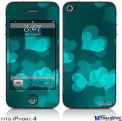 iPhone 4 Decal Style Vinyl Skin - Bokeh Hearts Neon Teal (DOES NOT fit newer iPhone 4S)