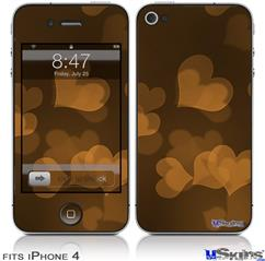 iPhone 4 Decal Style Vinyl Skin - Bokeh Hearts Orange (DOES NOT fit newer iPhone 4S)