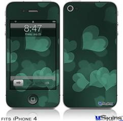 iPhone 4 Decal Style Vinyl Skin - Bokeh Hearts Seafoam Green (DOES NOT fit newer iPhone 4S)