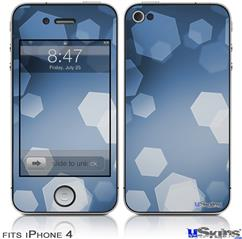 iPhone 4 Decal Style Vinyl Skin - Bokeh Hex Blue (DOES NOT fit newer iPhone 4S)