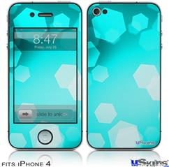 iPhone 4 Decal Style Vinyl Skin - Bokeh Hex Neon Teal (DOES NOT fit newer iPhone 4S)