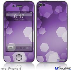 iPhone 4 Decal Style Vinyl Skin - Bokeh Hex Purple (DOES NOT fit newer iPhone 4S)