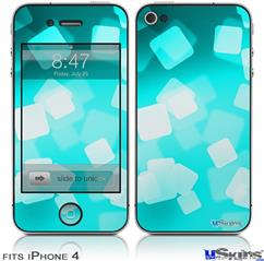 iPhone 4 Decal Style Vinyl Skin - Bokeh Squared Neon Teal (DOES NOT fit newer iPhone 4S)