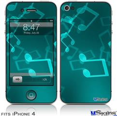 iPhone 4 Decal Style Vinyl Skin - Bokeh Music Neon Teal (DOES NOT fit newer iPhone 4S)