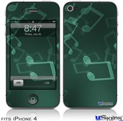 iPhone 4 Decal Style Vinyl Skin - Bokeh Music Seafoam Green (DOES NOT fit newer iPhone 4S)