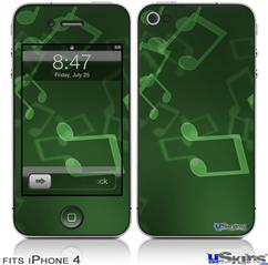 iPhone 4 Decal Style Vinyl Skin - Bokeh Music Green (DOES NOT fit newer iPhone 4S)