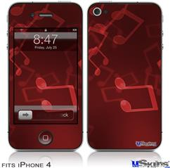 iPhone 4 Decal Style Vinyl Skin - Bokeh Music Red (DOES NOT fit newer iPhone 4S)