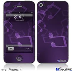 iPhone 4 Decal Style Vinyl Skin - Bokeh Music Purple (DOES NOT fit newer iPhone 4S)