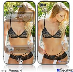 iPhone 4 Decal Style Vinyl Skin - Kayla DeLancey Black Lace 20 (DOES NOT fit newer iPhone 4S)