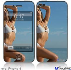 iPhone 4 Decal Style Vinyl Skin - Kayla DeLancey White Bikini 30  (DOES NOT fit newer iPhone 4S)