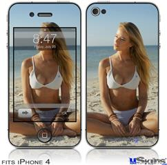 iPhone 4 Decal Style Vinyl Skin - Kayla DeLancey White Bikini 38 (DOES NOT fit newer iPhone 4S)