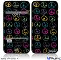iPhone 4 Decal Style Vinyl Skin - Kearas Peace Signs Black (DOES NOT fit newer iPhone 4S)