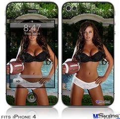 iPhone 4 Decal Style Vinyl Skin - Whitney Jene Football and Lace (DOES NOT fit newer iPhone 4S)