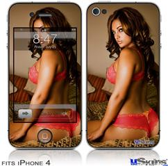 iPhone 4 Decal Style Vinyl Skin - Whitney Jene Red Lace 8175 (DOES NOT fit newer iPhone 4S)